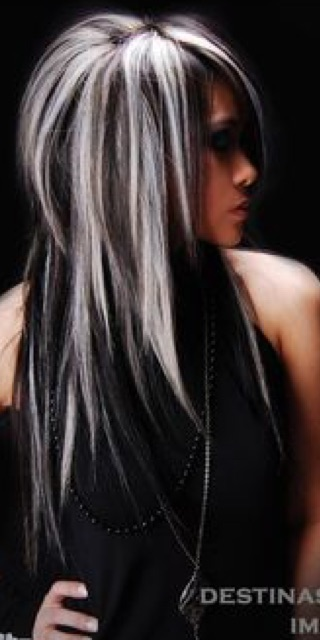 Awe Inspiring Wishbone White Highlights In Black Hair Or Black Highlights In Short Hairstyles Gunalazisus